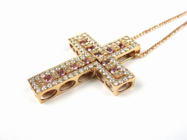 クロス ピンクサファイア ダイヤモンド ネックレス