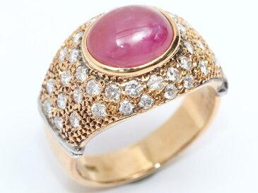 【中古】ジュエリー スターサファイア ダイヤモンド リング 指輪 ノーブランドジュエリー レディース K18YG(750) イエローゴールド x ピンクスターサファイア x ダイヤモンド(0.924ct)
