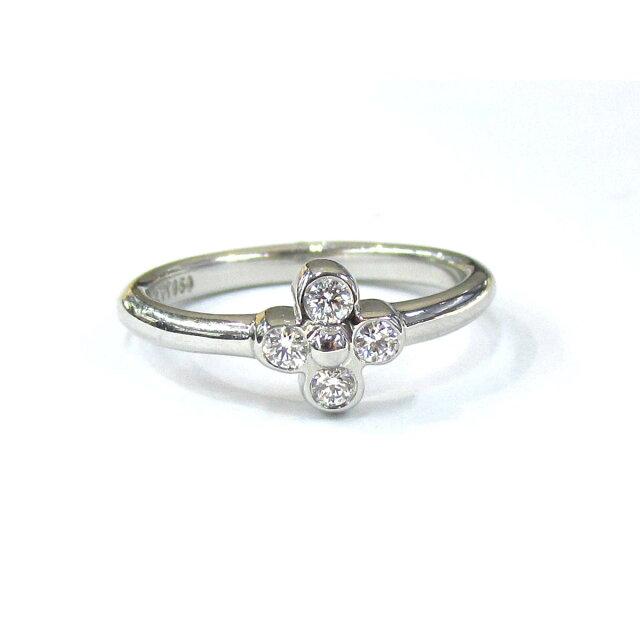 ベゼルセットリング 4Pダイヤモンドリング 指輪