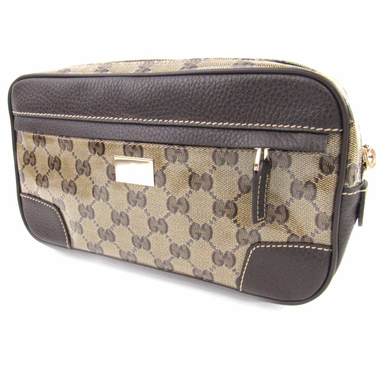 0554ea32 Gucci GG crystal waist porch body bag bag men gap Dis coating canvas (PVC)  x leather brown (336672)   GUCCI BRANDOFF brand off-brand brand bag back ...