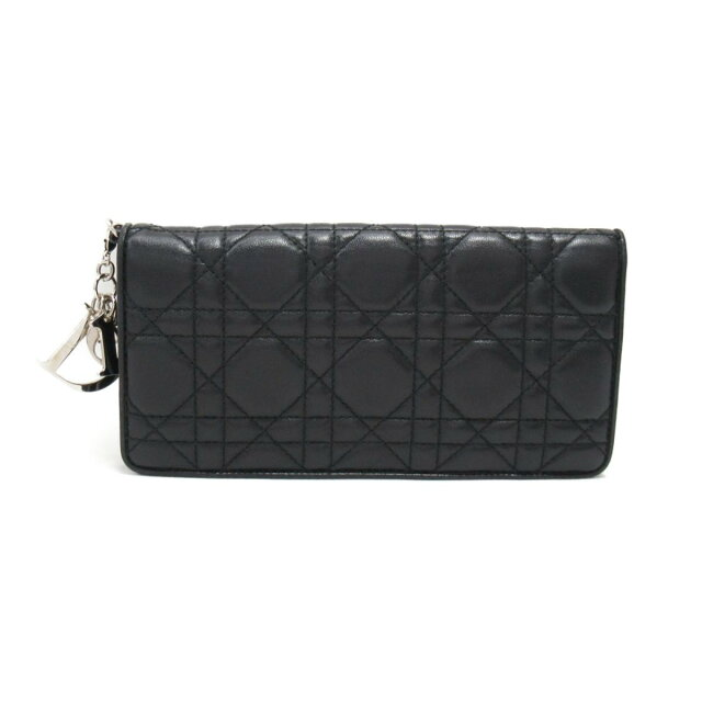 low priced 2ff22 07003 Christian ディオールカナージュ folio long wallet wallet Lady's leather black   Dior  BRANDOFF brand off-brand brand wallet Lady's wallet wallet