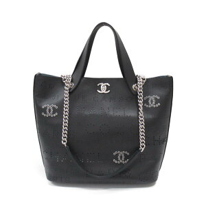 Chanel 2way tote bag bag ladies leather black (silver metal fittings) [used] | CHANEL BRANDOFF brand off brand brand bag back tote back tote