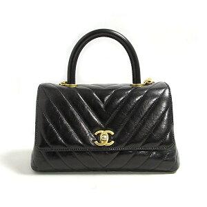 Chanel V Stitch Top Handle 2way Shoulder Bag Bag Ladies Leather Black (Vintage Gold Hardware) [Used] | Brand