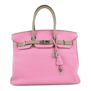 [二手]爱马仕Birkin 35私人订制手提包女士Togo Pink x Turtier Grey(银色金属配件)