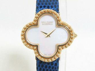 Van Cleef & Arpels (Van Cleef & Arpels) and vintage Alhambra watch / gold quartz //K18YG (750) x leather belt / (ARD22000) [BRANDOFF / brand off]