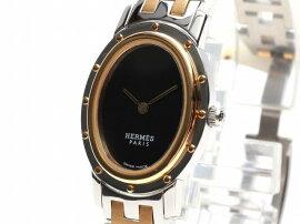 HERMES(エルメス)/クリッパーオーバル腕時計ウォッチ/クオーツ/ブラック/ステンレススチール(SS)メッキ/【ランクA】(CO1.220)[BRANDOFF/ブランドオフ]【】