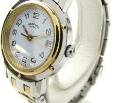 HERMES(エルメス)/クリッパー腕時計ウォッチ/クオーツ/ホワイト/ステンレススチール(SS)GP(金メッキ)/【ランクA】(CL4.220)[BRANDOFF/ブランドオフ]【】