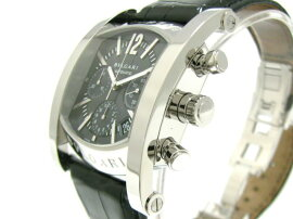 BVLGARI(ブルガリ)/アショーマクロノ腕時計ウォッチ/オートマチック/ネイビー/ステンレススチール(SS)xレザーベルト/【ランクB】(AA48SCH)[BRANDOFF/ブランドオフ]【】