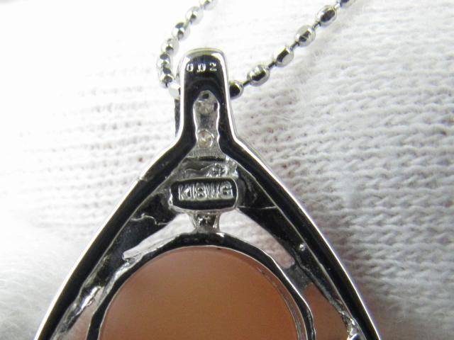 オレンジムーンストーン ダイヤモンド ネックレス