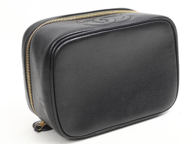 キャビアスキン 横型バニティバッグ