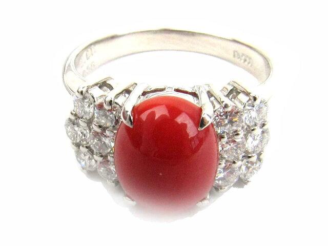 サンゴ ダイヤモンド リング 指輪