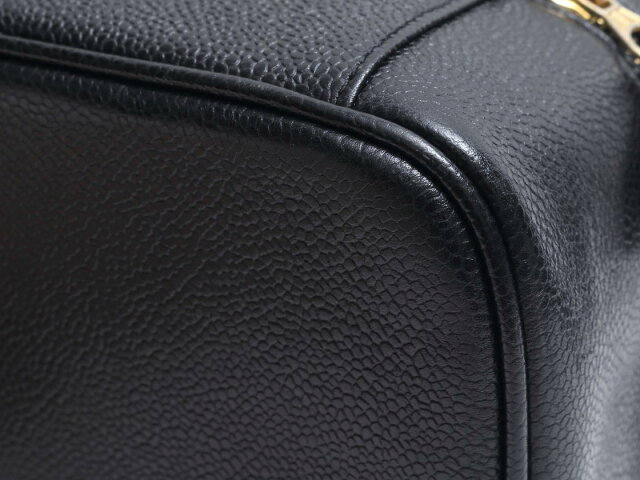 キャビアスキン 横型バニティ ハンドバッグ