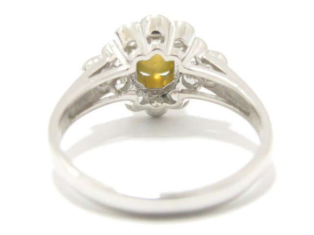 クリソベリルキャッツアイ ダイヤモンド リング 指輪