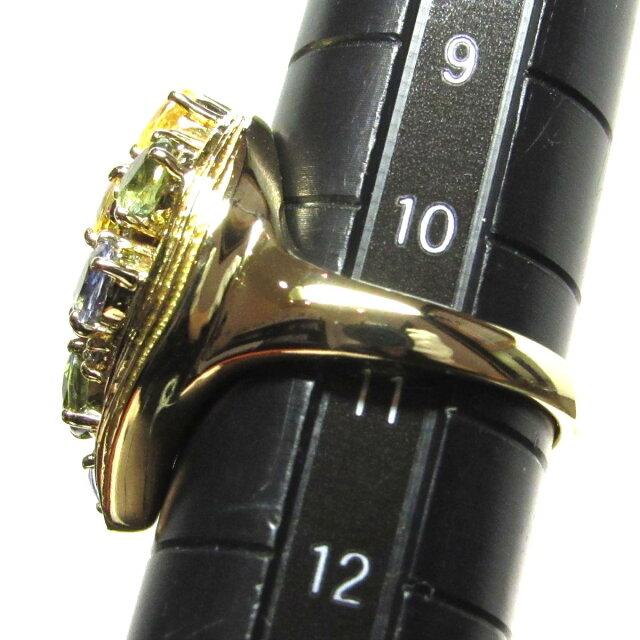 マルチカラー サファイア ダイヤモンド リング 指輪
