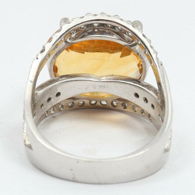 シトリン ダイヤモンド リング 指輪
