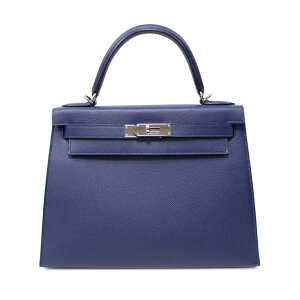 [Gebraucht] Hermes Kelly 28 Äußere Nähhandtasche Damen Vaux Epson Blue Safir (Silber Metallbeschläge)   HERMES BRANDOFF Brand Off Brand Markentasche Bag Back Handtasche Hand