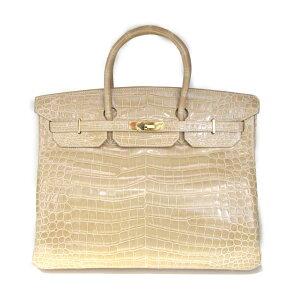 [Gebraucht] Hermes Burkin 40 Handtasche Damen Croco Porosas Beige Rose (Gold Metallbeschläge)   HERMES BRANDOFF Brand Off Brand Markentasche Brand Back Bag Bag Back Handtasche Hand