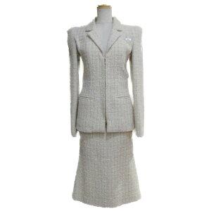 [इस्तेमाल किया] Chanel ट्वीड सूट लेडीज़ ऊन नायलॉन सिल्क मोहायर पॉलिएस्टर आइवरी गोल्ड (P56774V4293) | Chanel ब्रांड ऑफ ब्रांड
