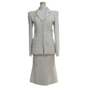 [Utilisé] Chanel Tweed Suit Mesdames Laine Nylon Soie Mohair Polyester Ivoire Or (P56774V42924) | CHANEL BRANDOFF Brand Off Marque