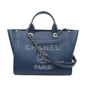 [Used] Chanel Coco Mark Studs Shoulder Bag Ladies Leather Blue | CHANEL BRANDOFF Brand Off Brand Brand Bag Bag Bag Bag Back Back