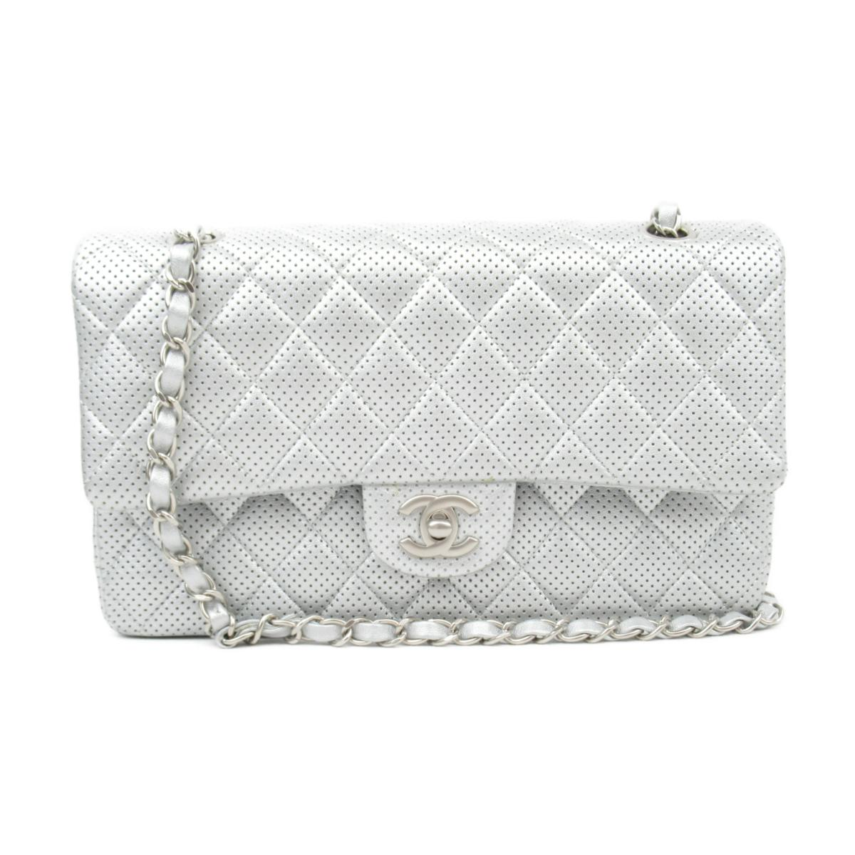 [Pre] Chanel Matorasse W flap chain shoulder bag ladies punching leather Silver (A1112 S bracket) | CHANEL BRANDOFF brand off brand brand bag bag bag back shoulder bag