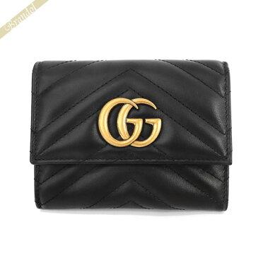 グッチ レディース 三つ折り財布 GGマーモント レザー ブラック 474802 DRW1T 1000 | ブランド 母の日 普段使い