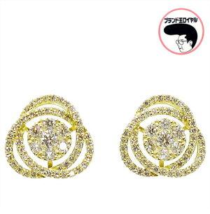 ダイヤモンドピアス0.5ct×2K18YGイエローゴールドダイヤモンドレディースフラワー