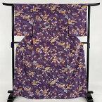 小紋 名品 琉球紅型 ますいわ屋 草花 あずま屋 紫 袷 身丈168cm 裄丈63cm S 正絹 【中古】