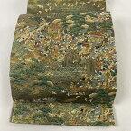 袋帯 美品 秀品 落款あり 日吉山王祭礼 祭風景 松 箔 金糸 茶緑色 六通 正絹 【中古】
