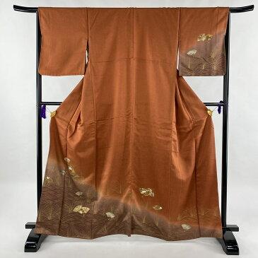 訪問着 秀品 松竹梅 扇 金銀彩 赤茶 袷 身丈163.5cm 裄丈65cm M 正絹 【中古】
