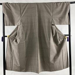 男着物 美品 優品 紬 茶色 袷 142cm 69cm M 正絹 【中古】
