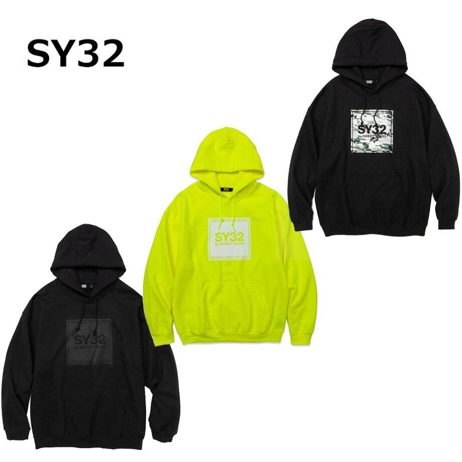 トップス, パーカー SY32 sy32 by SWEET YEARS SQUARE LOGO PO HOODIE 2020aw