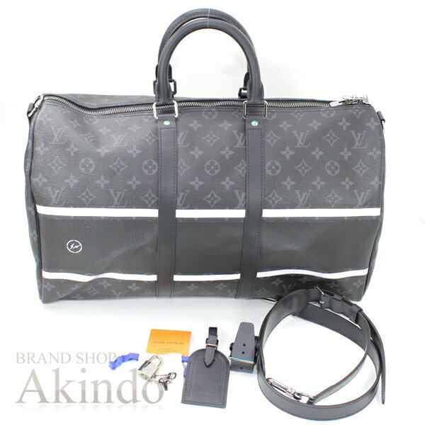ルイヴィトン 藤原ヒロシ フラグメント キーポルバンドリエール45 モノグラム・エクリプス 黒 ブラック メンズ M43413 ボストンバッグ 旅行鞄 未使用