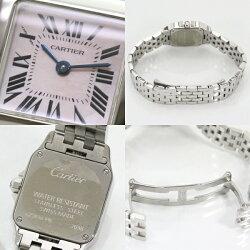 CartierカルティエサントスドゥモアゼルSSピンクシェルレディース腕時計QZ【】