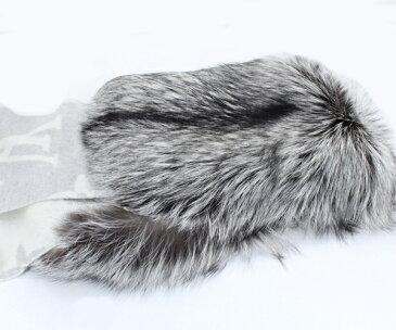 未使用 ルイヴィトン エシャルプ・レイキャビック ファー カシミヤ100% フォックス毛皮100% M70722 グリペルル レディース