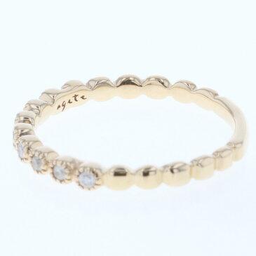 アガット ダイヤモンド 0.07ct ピンキー リング 指輪 K10 イエローゴールド 5号 レディース agete【中古】K80813675 【PD1】