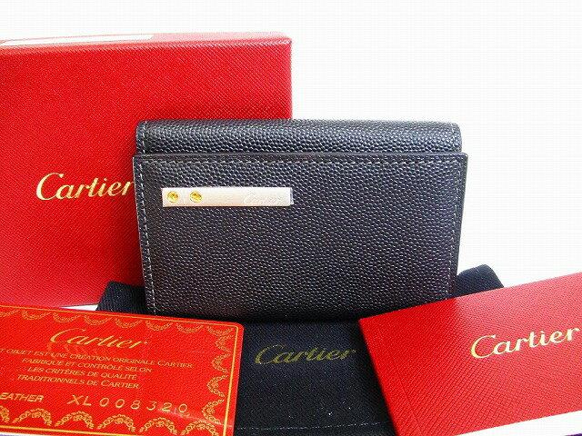 55a3213586bb 【展示保管品】 Cartier カルティエ サントス カーフスキン 6連 キーケース キーリング メンズ レディース 黒 【】