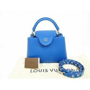 [稀有] [未使用] Louis Vuitton路易威登Taurillon皮革Capsine BB手袋单肩包蓝色Roy [二手]