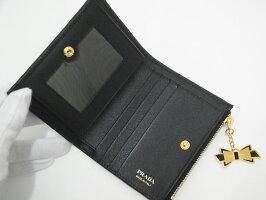 【送料・代引き手数料無料】【未使用S品】【国内正規品】プラダPRADA二つ折り財布1ML023SAFFOANOFIOCCONEROブラックゴールド金具