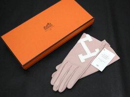 【送料・代引き手数料無料】【未使用S品】HERMESエルメスHグローブピンクベージュ#7レディース手袋