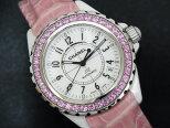 【送料・代引き手数料無料】シャネルCHANELJ1238mmH1337ピンクサファイアベゼルホワイトセラミックオートマティック腕時計