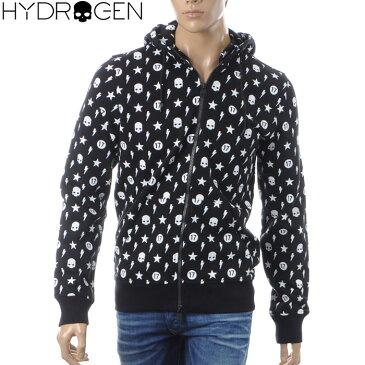 ハイドロゲン HYDROGEN ジップアップパーカー メンズ ALLOVER HOODIE 230638 ブラック 2018秋冬新作