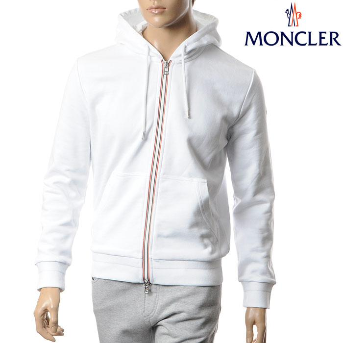 MONCLER モンクレール ジップアップパーカー メンズ スウェット トップス 8431500 80948 ホワイト:BRAVAS