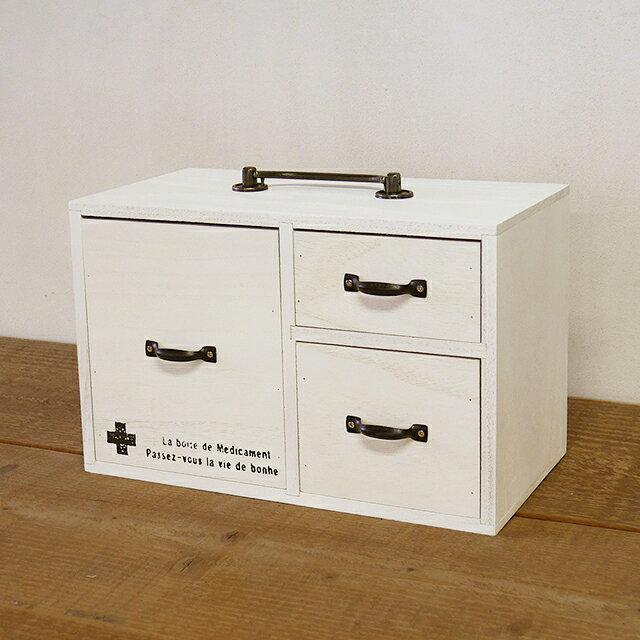救急箱 木製 おしゃれ 取って付き ホワイト レトロ 引き出し チェスト プリント入り おくすり 収納 ドロワー 小物入れ BREAブレア