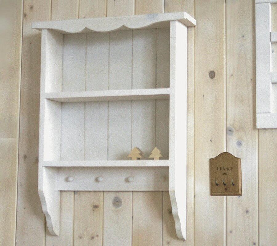 【BREA】【壁掛け カントリー 棚】シェルフ/飾り棚/ディスプレイ 棚/フック付き 2段ラック/木製/西海岸