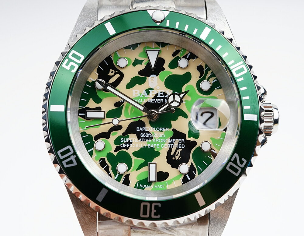 腕時計, メンズ腕時計 A BATHING APE Bapex T001 Rolex Submariner 40mm 33793T