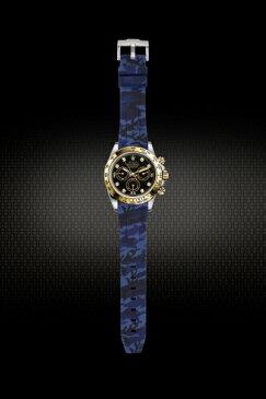 Rolex/ロレックス Daytona/デイトナ 116520、116523、116500、116503適用 VAGENARI ラバー ストラップ/ベルト カモフラージュ/迷彩 ブルー