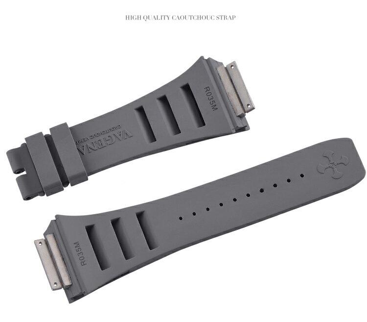 Richard Mille/リチャード・ミラー RM030 RM035 RM055に適用 Vagenari ラバー ストラップ/ベルト グレー