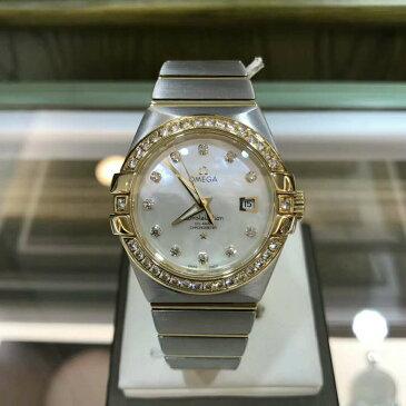 新品オメガ OMEGA 123.25.31.20.55.003 自動巻き18k ゴールド ダイヤ シェル 文字盤 31mm 腕時計