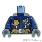 レゴ パーツ トルソー - ゴールドバッヂとラジオ付き女性警察官 [Dark Blue/ダークブルー]   LEGO純正品の バラ 売り